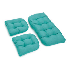 U-Shaped Spun Polyester Tufted Settee Cushion Set, Set of 3, Aqua