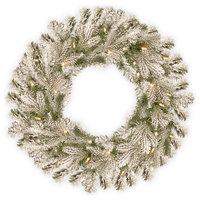 """Snowy Sheffield Spruce Wreath With Battery Operated Warm White LED Lights, 24"""""""