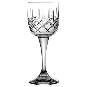 Thick Stem Lattice Lead Crystal Wine Glasses, Set of 6