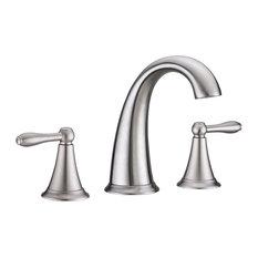 Virtu USA Alexis Brushed Nickel Widespread Bathroom Sink Basin Waterfall Faucet