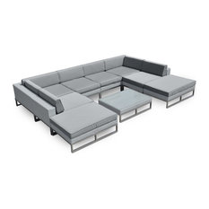 Marseille Outdoor Patio Furniture 9 Piece All-Weather Wicker Sofa Sectional Set
