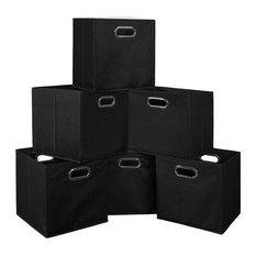 Cubo Set Of 6 Foldable Fabric Storage Bins, Black