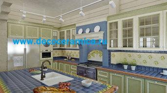 Плитка для кухни в загородный дом (кухня с террасой)