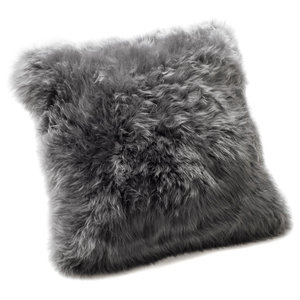 Small New Zealand Sheepskin Cushion, Grey