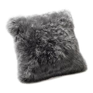 Small New Zealand Sheepskin Cushion, Grey