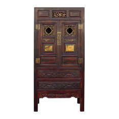 Consigned, Chinese Fujian Brown Golden Carving Graphic Armoire Storage Cabinet