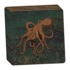 Octopus Thin Cork Coaster, Set of 4