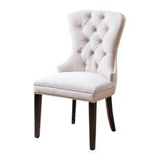 Miiko Tufted Velvet Dining Chair, Ivory