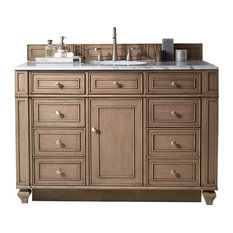"Bristol 48"" Whitewashed Walnut Single Vanity w/ 3cm Carrara White Marble Top"