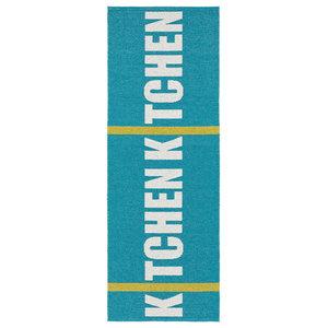 Kitchen Woven Vinyl Floor Cloth, Turquoise, 70x300 cm