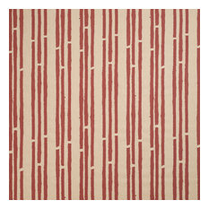 "PaperBoy Interiors ""Stripes"" Fabric, Stone and Red"