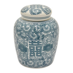 Three Hands Ceramic Jar, Green, 10""