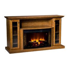 Cozy Glow Electric Fireplace, Red Oak Wood With Oak Stain