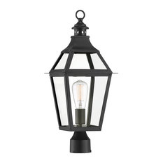 Jackson Black With Gold Highlighted 1-Light Outdoor Post Lantern, 9x23