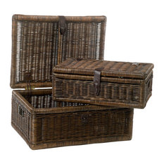 Covered Wicker Storage Basket, Nested Set of 2, Antique Walnut Brown, Standard