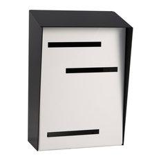 Mid Century Modern Mailbox, Two Tone Black, Vertical Large, White
