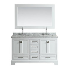 "Design Element Omega 61"" Double Sink Vanity, White"