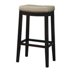 "Linon Hampton 25"" Wood Counter Stool in Dark Walnut Brown"