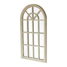 Cream Arched Window Wall Mirror, 46x86 cm