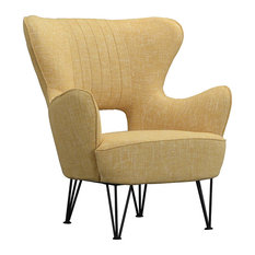 Sofamania - Mid Century Shelter Style Linen Fabric Armchair, Yellow - Armchairs and Accent Chairs