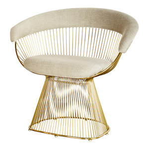 Mumu Platner Accent Chair, Gray and Gold