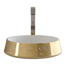 Exte Luxe Bathroom Sink, White and Gold