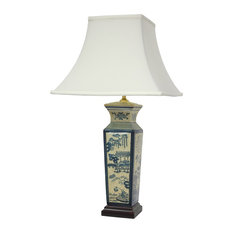 "26"" Blue Landscape Porcelain Lamp"