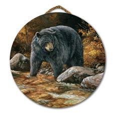 "Round Wall Art, Streamside Bear, 18"" Diameter"