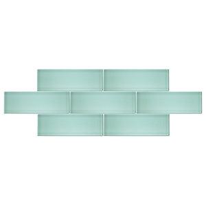 "Spring Blue 4""x12"" Glass Subway Tile, Sample"