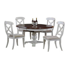 Sunset Trading   Sunset Trading 5 Piece Andrews Butterfly Leaf Dining Set  In Antique White