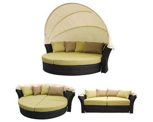 Outdoor Wicker Patio Furniture Canopy Day Beds   Martinique Canopy Bed |  Brown W   Patio