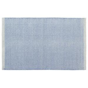 Handwoven Powder Blue Field Cotton Rug, 60x90 Cm