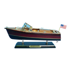 "Wooden Chris Craft Triple Cockpit Model Speedboat, 14"""