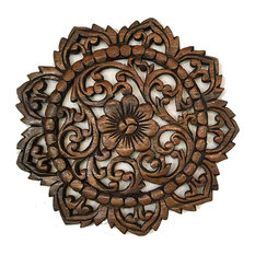 """Round Wood PlaqueOriental Carved Wood Wall Panel.Teak Wood Wall Hanging 12"""""""