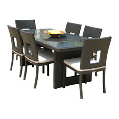 Outdoor Wicker All Weather Resin 7-Piece Dining Table and Chair Set