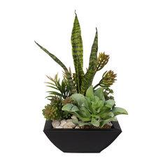 Blooming Succulent Arrangement in Metal Pot