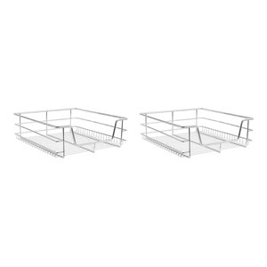 Modern Set of 2 Kitchen Baskets, Stainless Steel, 500 mm