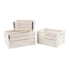 Set Of 3 Mediumium Whitewash Wood Crates