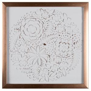 Metallic Rose Gold Petals Framed Wall Art, 40x40 cm