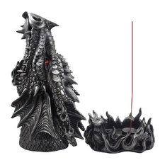 Pewter Look Fire Breathing Dragon Incense Burner
