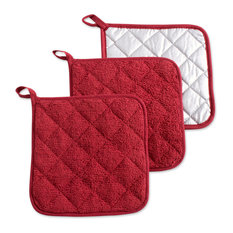 DII Barn Red Terry Pot Holder, Set of 3