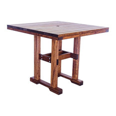 Eugene Quality Outdoor Patio Rectangle Table, Bar Height, Square