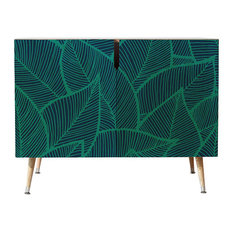 """Arcturus Blue Green Leaves Credenza, 38""""x20"""""""