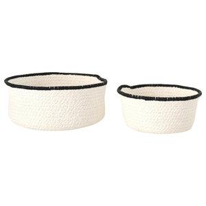Scandinavian Decorative Bowl Set, Black Trim, Set of 3