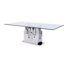 Modrest Edwin Modern Glass and Stainless Steel Dining Table