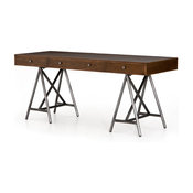 "70.75"" L Ilda Desk Iron Oak Brushed Gunmetal Spiced Spectacular"
