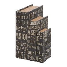 "Set of 3 Black Wood Traditional Box, 14"", 12"", 9"""