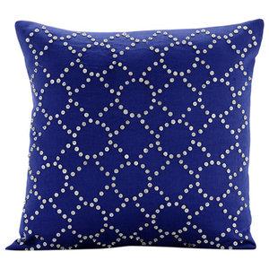 Royal Blue Illumination, Blue 40x40 Cotton Linen Throw Cushions Cover