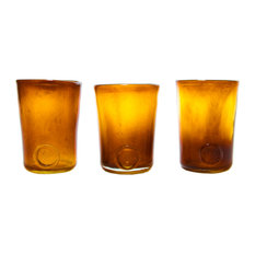 Retro Curve Glasses, Honey, Set of 3