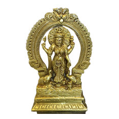 Mogulinterior - Lakshmi with Elephants Brass Sculpture Indian Figurines Yoga Gift of Abundance - Decorative Objects And Figurines